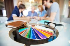Close-up of color palette on the table Stock Photos