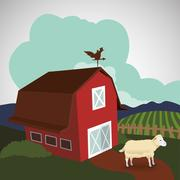 Farm design. stable icon. flat illustration Stock Illustration
