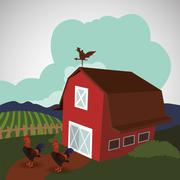 Farm design. stable icon. flat illustration - stock illustration