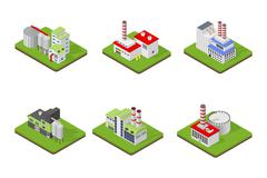 Icons and compositions of industrial building, isolated constructions, subjects Stock Illustration