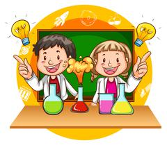 Boy and girl doing science experiment Stock Illustration
