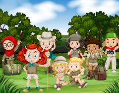Children hiking in the woods Stock Illustration