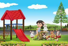 Girl and rabbits in the playground Stock Illustration
