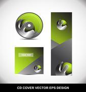 Green metal sphere Cd Dvd cover design Stock Illustration