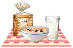 Breakfast set with bread and cereal Stock Illustration