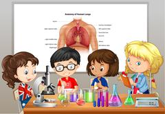 Students doing science labs in room Stock Illustration