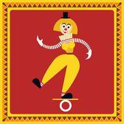 Female clown teetering on the coil Stock Illustration