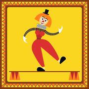 Funny female clown balances on two pillars Stock Illustration