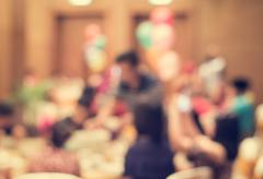 Blurred people in the banquet room Stock Photos