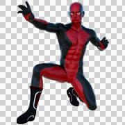 One young superhero man with muscles in red black super suit Stock Illustration