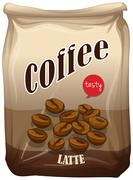 Bag of coffee latte Stock Illustration