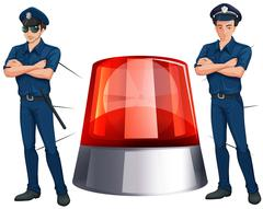 Police officers and siren light Stock Illustration
