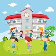 Kids jumping rope at the school ground Stock Illustration