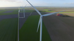 Wind turbines in fields Stock Footage