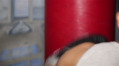 Boxer on boxing pear Stock Footage