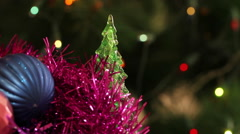 Christmas balls and fir tree with garland flashing. Background Stock Footage