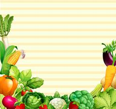 Paper design with vegetables and fruits Stock Illustration