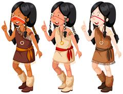 Native american indian girls in traditional costume Stock Illustration