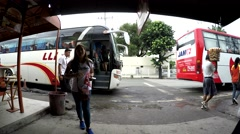 Buses queued waiting for passengers Stock Footage