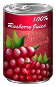 Raspberry juice in aluminum can Stock Illustration