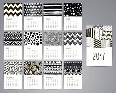 Calendar 2017. Templates with Hand Drawn Patterns Piirros