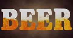 High resolution text with word beer shape filled with beer Stock Footage