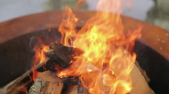 Firepit Slow Motion Close Up Stock Footage