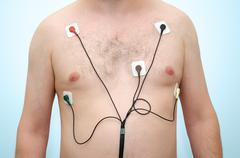 Man wearing holter monitor Stock Photos