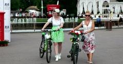 Lady's FLOWER show, Ladies on bike, Sokolniki Park Stock Footage
