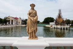 Angel statue at Bang Pa-In Palace Stock Photos