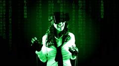 Virtual matrix girl boyfriend call start Stock Footage
