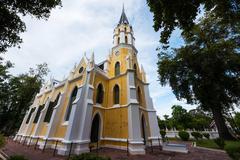 Christian church of Wat Niwet Thamma Prawat Stock Photos