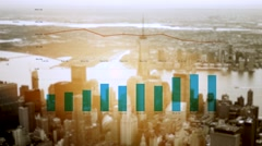 Aerial view of new york city business district. financial sales data Stock Footage