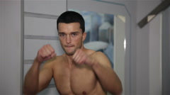 Kickboxer in training Stock Footage