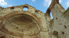 The ancient Church of St. Sophia (Stara Mitropolia) ruins in Nessebar, Bulgar Stock Footage