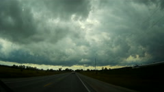 POV driving into severe weather and thunderstorm Stock Footage