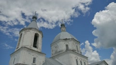Orthodox church russian domes against the blue sky slow motion video Stock Footage