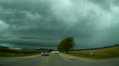 POV driving into the storm Stock Footage