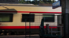 A train in transit in Vicenza station Stock Footage