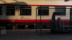 A train in transit in the station Stock Footage