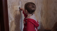Boy power outlet Stock Footage