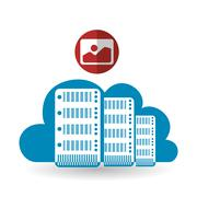 Cloud computing design. Trip icon. Flat illustration, technology vector Stock Illustration