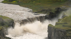 Hafragilsfoss beautiful waterfall in Iceland Stock Footage