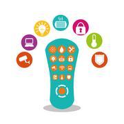 Smart home house icon set Stock Illustration