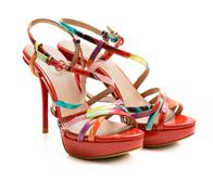 Red summer shoes on white background Stock Photos
