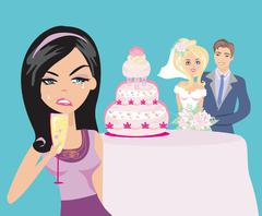 Young woman jealous on a happy Wedding pair Stock Illustration