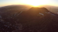 Sunset Aerial Hollywood Sign Stock Footage