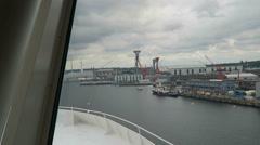 Ferry leaving harbor of Kiel (Schleswig-Holstein, Germany) towards Oslo. Stock Footage
