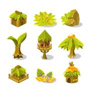 Video Game Tropical Jungle Design Collection Of Icon Stock Illustration