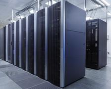 Room with rows of server hardware in the data center Stock Photos
